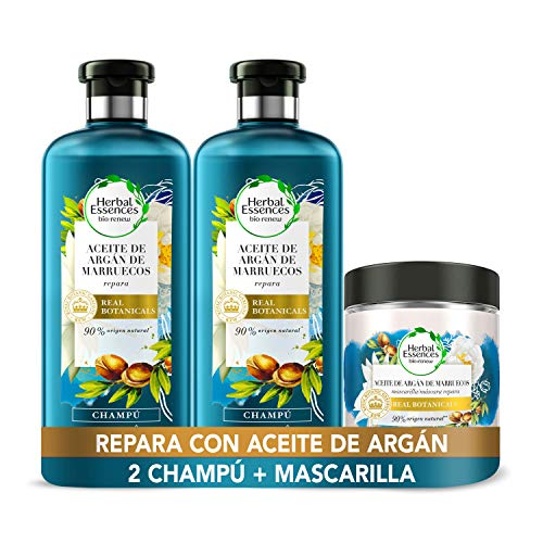 Herbal Essences Aceite De Argán De Marruecos, Pack Reparación 2 Champús 400ml + Mascarilla 250ml, Ph neutro e Ingredientes Naturales, Argan Oil