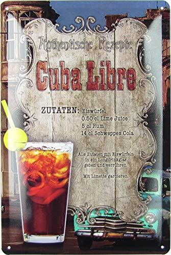 Blechschild 20x30cm gewölbt Cuba Libre Cocktail Bar Kuba Deko Geschenk Schild