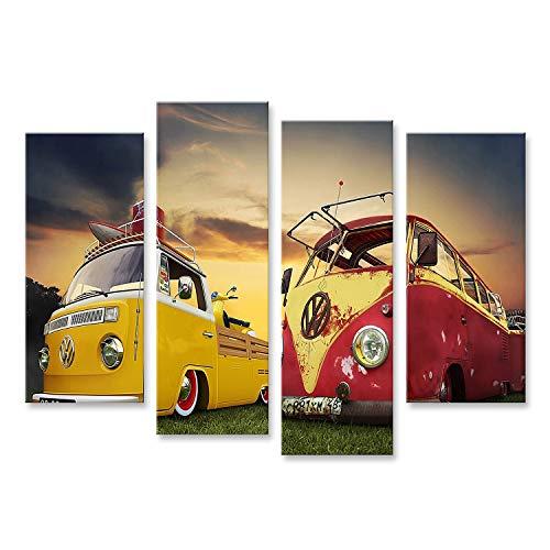 Bild Bilder auf Leinwand VW Bulli Bus T1 Wandbild Poster Leinwandbild Vwbus