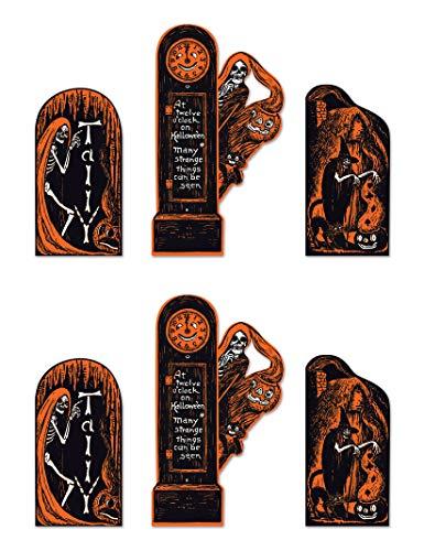 Beistle 01460 Vintage Halloween Einladungsausschnitte, 6-teilig, 33,8-47,25 cm, schwarz/orange/weiß