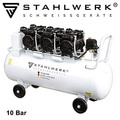 STAHLWERK Druckluft Flüsterkompressor ST 1010 pro - 100 L Kessel, 10 Bar, ölfrei, sehr leise, leistungsstark, sehr stabil, weiß, 7 Jahre Garantie