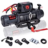 TYT T1 Series Winch 9500 lb. Load Capacity Electric Winch, 12V Winch with Synthetic Rope, Waterproof IP67 Truck Winch with Hawse Fairlead, with 2 Wireless Handheld Remote and Wired Handle Recovery