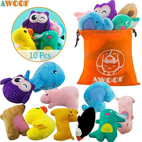 AWOOF 10er Pack Welpenspielzeug Hund Quietschspielzeug, Welpen Zahnen Spielzeug, Haustier Hund Plüsch Spielzeug, Weiches Kauspielzeug-Set für Welpe kleine Mittelgroße Hunde
