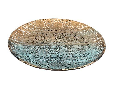 Crispe home & garden Orientalischer Deko Teller aus Metall Dehli - Türkis mit Übergang zu Gold - mit Goldschimmer - Ø 26 cm