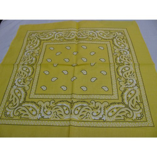 100% cotton (Yellow - LM) Paisley Design Bandana by