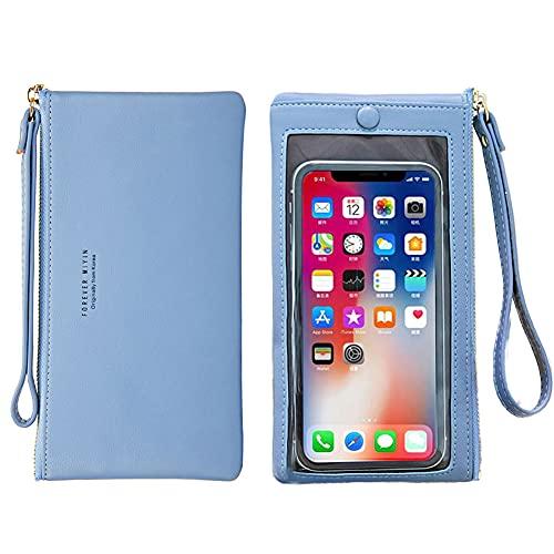 Bolsa de teléfono cruzado con pantalla táctil, bolso de hombro con bloqueo RFID con correa y ranuras para tarjetas de crédito, (B-Azul claro), Medium