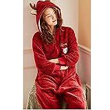Lpinvin CL Pijamas de Mujer Pijamas Ropa de Dormir Conjunto Completo Loungewear Bodies Terciopelo Grueso Franela Estilo de Navidad Linda de los Ciervos Conjunto de Pijama de Mujer