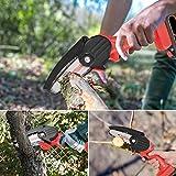 KKTECT Sierra de podar eléctrica portátil Mini motosierra de mano inalámbrica portátil de 24 V Sierra de cadena inalámbrica con tapa protectora para poda y tala de árboles frutales de corte de madera