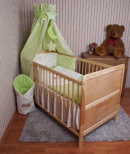 Amilian® Baby Bettwäsche Himmel Nestchen Bettset MIT STICKEREI 100x135cm Neu für Babybett Teddy grün Vollstoffhimmel