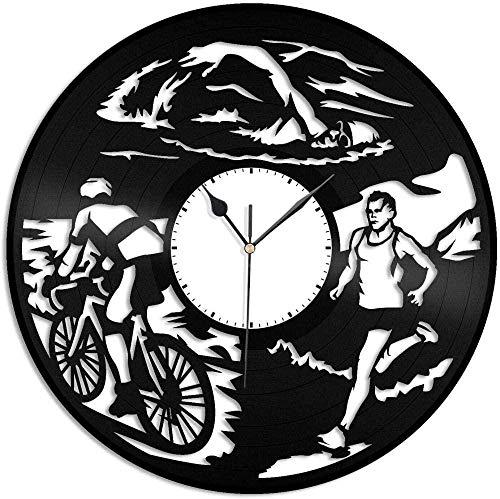 Triatlón Reloj de Pared de Vinilo Amantes de los Deportes Decoración de la habitación del hogar Diseño Retro Oficina Bar Habitación Decoración del hogar