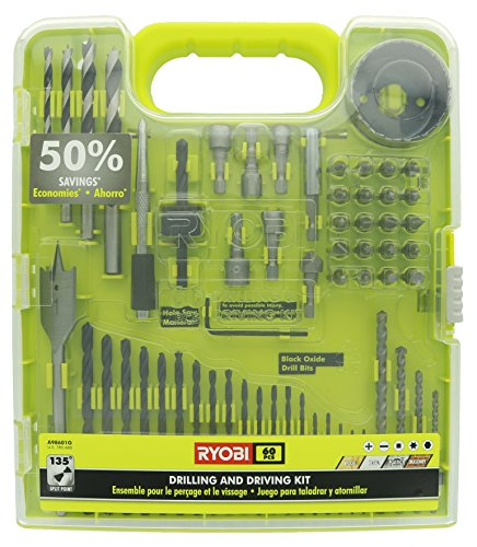 Ryobi A98601 60 Piece Black Oxide Drilling and Driving Bit Set with Carrying Case for Wood, Metal, Plastic, and Masonry