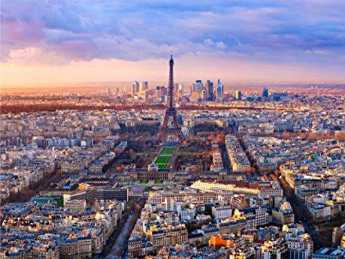 1art1 Paris - Eiffelturm, Panarama Ansicht, 4-Teilig Fototapete Poster-Tapete 360 x 255 cm