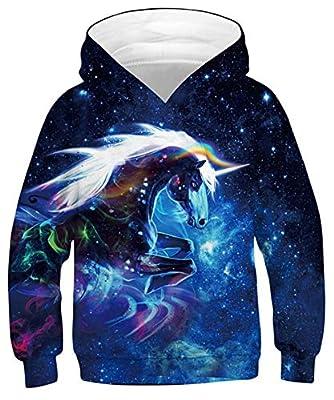 Goodstoworld 3D Unicorn Hoodies Niño Niña Sudadera Divertida Impresión Sudaderas con Capucha 8-11 añosangas 12-13 añosargas Sweatshirt Pulóver Bolsillos Galaxia Unicornio 8-11 años