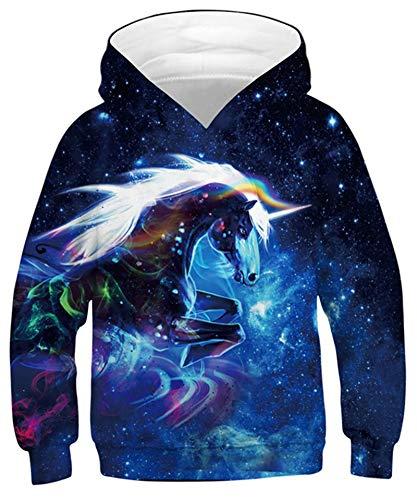 Goodstoworld 3D Galaxy Unicorn Druck Jumper Hoodie Mädchen Jungs Kapuzenpullover Langarm Sweatshirt Pullover Bunte Kapuzenpullis Freizeitkleidung L