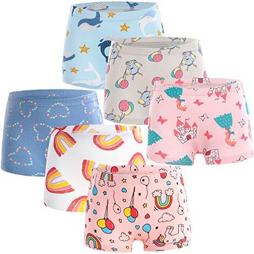Adorel Mädchen Unterhosen Boxershorts 6er-Pack Wal & Elefant & Herzchen 116-122 (Herstellergröße 120)