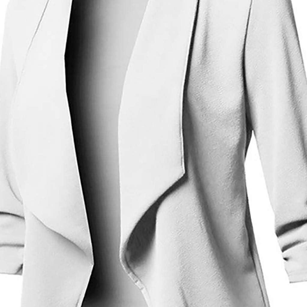SHUBIHU Frauen Jacke Mantel Lange Ärmel Einfarbig Strickjacke Tops Blazer Shirt Bluse Neu 2019 Weiß