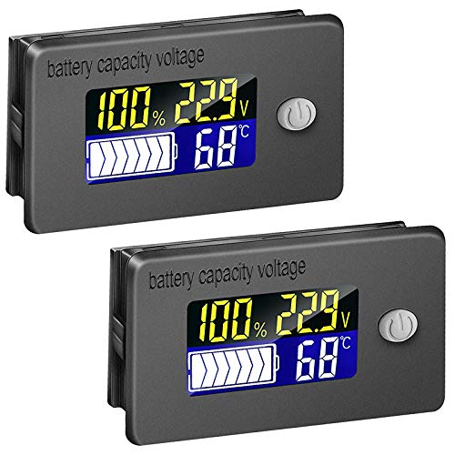 2 Pieces Battery Gauge Meters Battery Capacity Voltage Meters LCD Display Temperature Monitors Digital Battery Capacity Testers for Golf Cart Boat Car RV Motorcycle