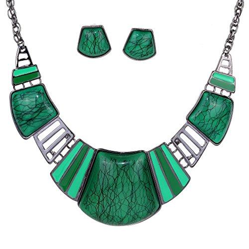 YAZILIND Vintage Ethnic Tibetan Sliver Green Turquoise Bib Collar Earrings Necklace Jewelry Set Women