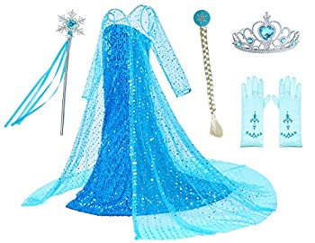 Luxury Princess Dress Costumes with Shining Long Cape Girls Birthday Party 4T 5T