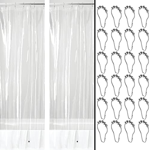 mDesign Cortina de Ducha de PEVA hidrófuga con 12 Ganchos para Colgar – Cortinas de baño inodoras con imanes en el Dobladillo – Cortina Transparente de 183 cm x 183 cm – Transparente y Plateado