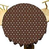 Mantel redondo moderno de diferentes tamaños de puntos de burbujas como formas abstractas patrón en contraste de limpieza rápida marrón oscuro rosa claro blanco diámetro 71 pulgadas