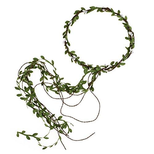Floral Fall Adjustable Bridal Flower Garland Headband Flower Crown Hair Wreath Halo F-83 (Y-Green Brown Tail)