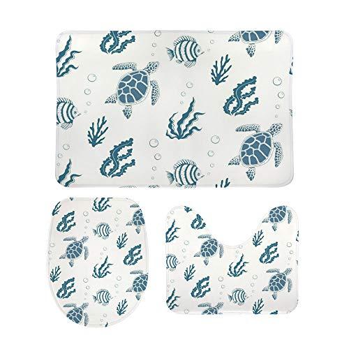 Lafle - Set di tappetini Antiscivolo da Bagno a Forma di Tartaruga, con copriwater e Tappetino da Bagno, 3 Pezzi
