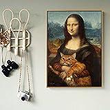 MhY Mona Lisa Katze Ölgemälde Leinwand Malerei Poster