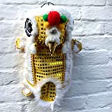 NACOCO Cute Dance Lion Pet Costume with Yellow Sequins New Year Cat Dog Clothes Hoodies Coat for Small Meduim Large Dogs (Yellow, 24)