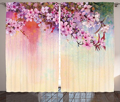 """Ambesonne Flower Curtains, Temperate Zone Branch Mass Wisteria Pollen Eastern Oriental Cultivar Artwork, Living Room Bedroom Window Drapes 2 Panel Set, 108"""" X 63"""", Coral Pink"""