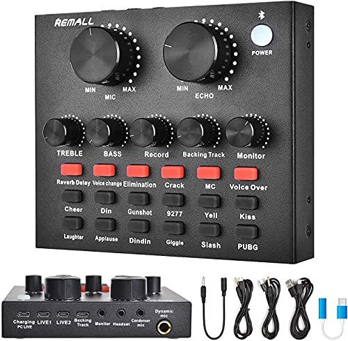 DJ Controller Soundkarte, REMALL DJ Mischpult Mixer mit 12 Warm-Up-Soundeffekten 4 Sound-Change-Effekten für Podcasting, Bluetooth-Mini-Streaming-Audiomischer für Telefon Computer