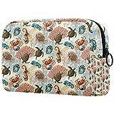 ATOMO Bolsa de maquillaje, bolsa de viaje de moda, neceser grande, organizador de maquillaje para mujeres, alas salvajes, acuario, caballo de mar, cangrejo de tortuga