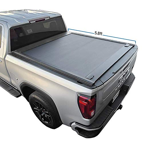 """Syneticusa Aluminum Retractable Low Profile Waterproof Tonneau Cover Fits 2019-2021 Chevy Silverado/GMC Sierra 1500 5'8"""" 5.8ft Short Truck Bed Cargo"""