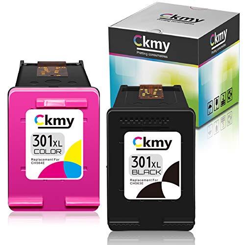 CKMY 301 XL Wiederaufbereitet Tintenpatrone als Ersatz für HP 301XL für DeskJet 1000 1050 2050 2050A 2540 3000 3050 3050A 3510 Envy 4500 4502 5530 OfficeJet 2620 4630 4632 (Schwarz, Farbe)