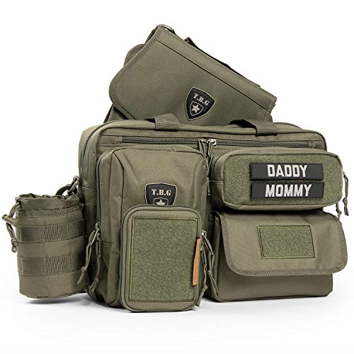 Tactical Baby Gear Deuce 2.0 Tactical Diaper Bag Combo Set and Changing Mat (Ranger Green)
