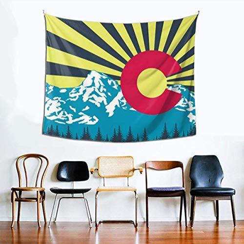 Tapiz Hippie, tapices de Bandera de montaña de Colorado para Dormitorio, Sala de Estar, Dormitorio, Tapiz psicodélico para Colgar en la Pared, Decorativo étnico
