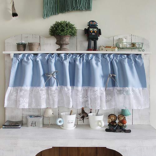 Küche Kurze Vorhänge, Blau/Grüner Scheibengardine, Cafe Halber Vorhang, Spitzenrüschen, Schabracken für Glasfenster in Wohnraumbalkonen, L40cm