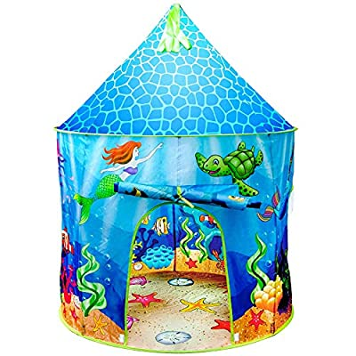 USA Toyz Mermaid Kids Tent - Under Sea Kids Play Tent, Indoor Playhouse with Pop Up Tent Storage Tote and Kaleidoscope Toy