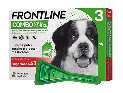 Frontline Combo, 3 Pipette, Cane Taglia XL ( 40 Kg), Antiparassitario per Cani e Cuccioli di Lunga Durata, Protegge il Cane e Anche la Casa da Pulci, Zecche, Uova e Larve, Antipulci 3 Pipette