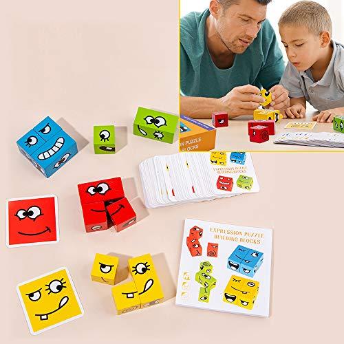 cff Shapes Puzzle Bloques Logicos Cubos de Emoji Cube Toys Cambia De Rostro Rompecabezas De Expresiones Divertidas Juguetes De InteraccióN Entre Padres E Hijos
