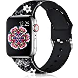 Muranne Band Compatible with Apple Watch SE 40mm 38mm for Women Girls Fancy Cute Fadeless Floral Print Replacement Wristbands Bands for iWatch Series 6 5 4 3 2 1, Black Flower, S/M