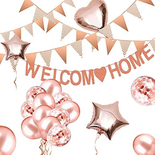 Willkommen Zuhause Deko, Girlande Willkommen Zuhause Banner, Welcome Home Baby Ballon Deko mit 5M Wimpel Banner, Herzlich Willkommen Schild Eburt Deko Willkommen Zurück für Zuhause, Party