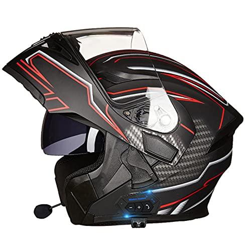 Bluetooth Casco Moto Integral, Cascos de Moto Hombre Mujer con Doble Visera para Motocicleta Scooter, Modular Casco Moto con Bluetooth Integrado, Certificado ECE (Color : B, Size : S=(55-56CM))