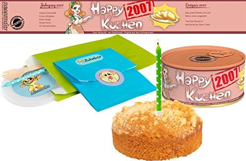 Happy Kuchen   Kuchen in der Dose   Personalisiert mit Wunsch- Geburtsjahr, Namen und Geschmack   Geburtstagsgeschenk   Geschenk   Geschenkidee (Zitronen-Streusel, Geburtsjahr 2007)