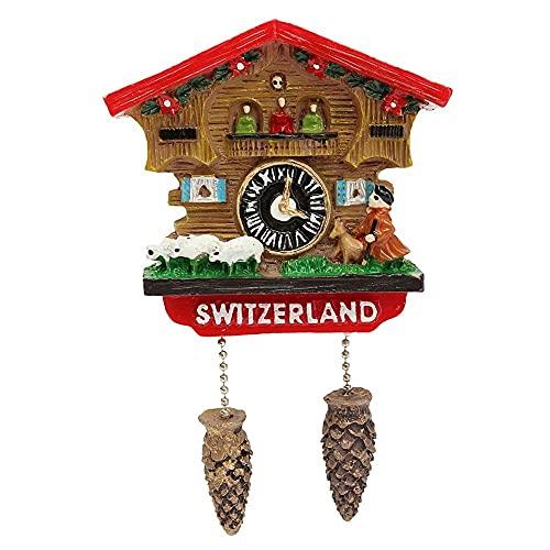 Huixindd Hecho a Mano Resina 3D Cuckool Reloj Recuerdos de Viaje Creativo Refrigerador Pegatinas Magnéticas Decoración del hogar Suiza