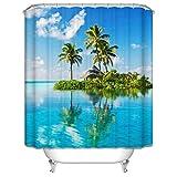 Bishilin 3D Anti-Schimmel Duschvorhang 180x200 Meer Kokospalme Badvorhang Anti-Schimmel