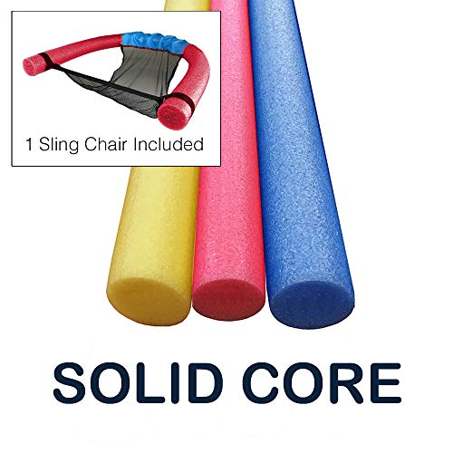 Oodles of Noodles 3 Pack 55 Inch x 2.75 Inch Extra Long Foam Noodle Multi-Purpose - Assorted Colors with Sling Chair