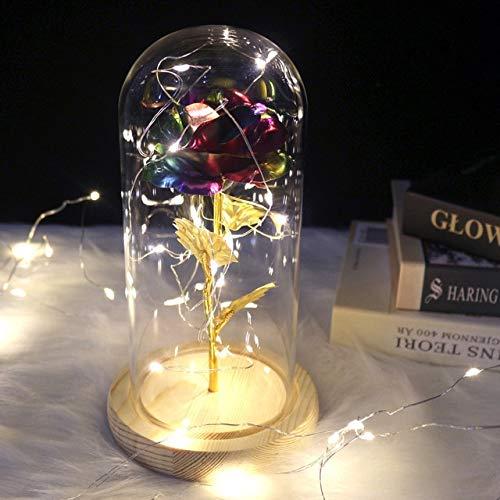 yaojing Belleza Y La Flor Eterna De La Bestia Rosa Corriendo En Una Boda De Matraz Decorado con Flores Artificiales En La Cubierta De Cristal Regalo De San Valentín 2020 Lámina De Oro - Colorido