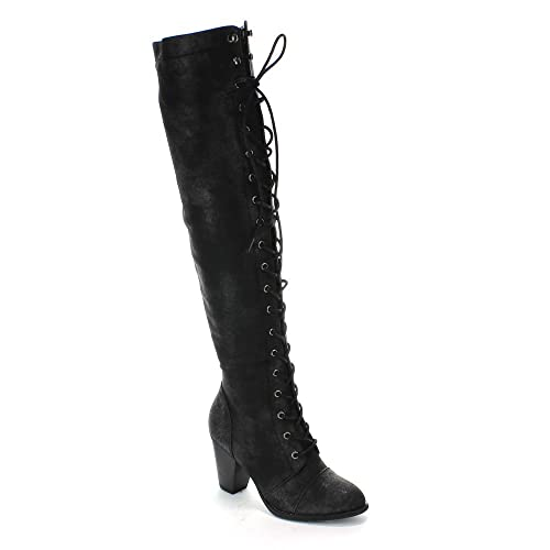4a0a475419076 Forever Women's Chunky Heel Lace up Over-The-Knee High Riding Boots