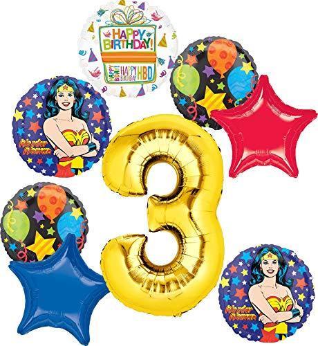 Wonder Woman Party Supplies 3rd Birthday Balloon Bouquet Decorations